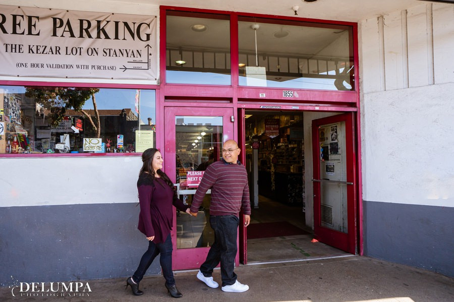 San Francisco Amoeba Music & Lover's Lane Engagement Session | Christina & Christian | Delumpa Photography