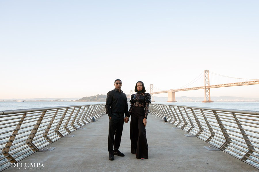 San Francisco Embarcadero & Pier 14 Engagement Session Vogue Style | Taalia & Dominic | Delumpa Photography